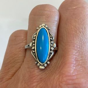 Vintage Sleeping Beauty Turquoise Sterling Ring